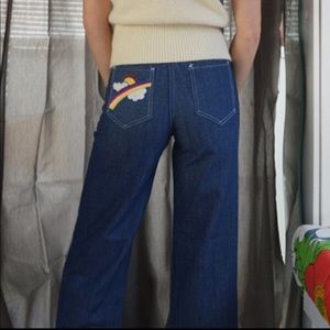 1970s Rainbow Embroidered Bell Bottoms Jea…